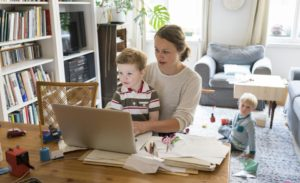 mother of two children working from home